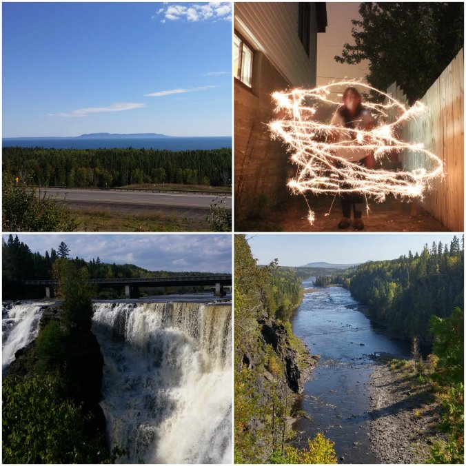 Top Row: View of the Sleeping Giant from the Terry Fox Monument, One of the photos we did using sparklers, Kakabeka Falls, and another view from Kakabeka Falls
