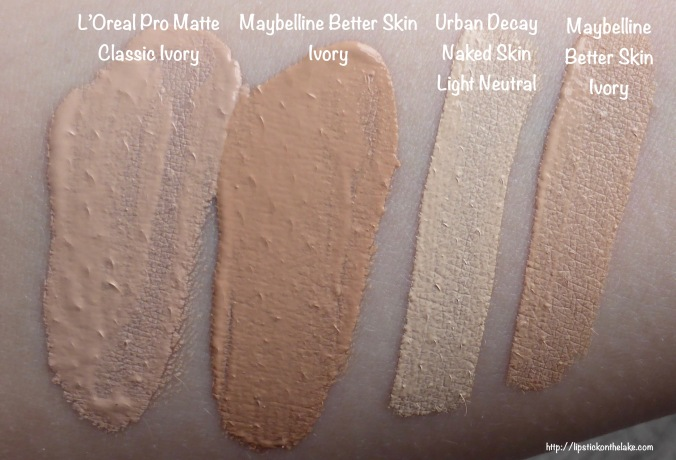 L'Oreal Pro Matte Classic Ivory, Maybelline Better Skin Ivory, Urban Decay Light Neutral