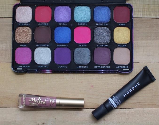 August Favourites - Makeup Revolution Constellation Palette, Too Faced Queen B Liquid Lipstick & Morphe Eyeshadow Primer
