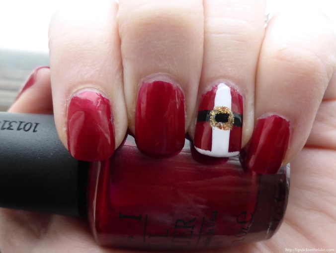 Holiday Manicure Santa Suit Accents