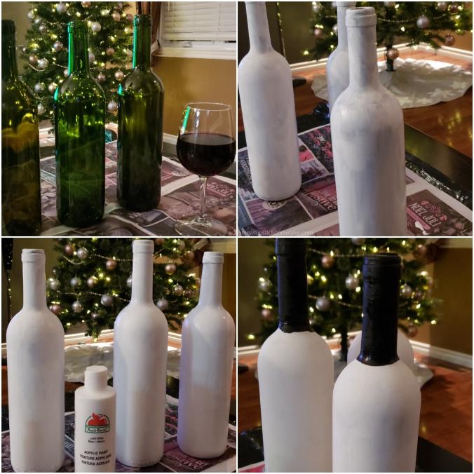 Snowmen Wine Bottle Art